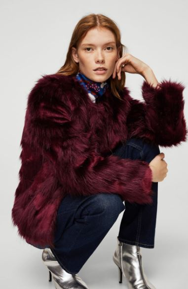 Faux fur coat in maroon, Mango, £79.99