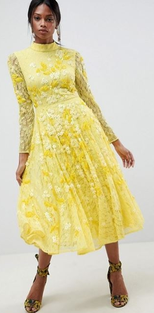 All over lace & embellished yellow dress, £160.00, ASOS EDITION