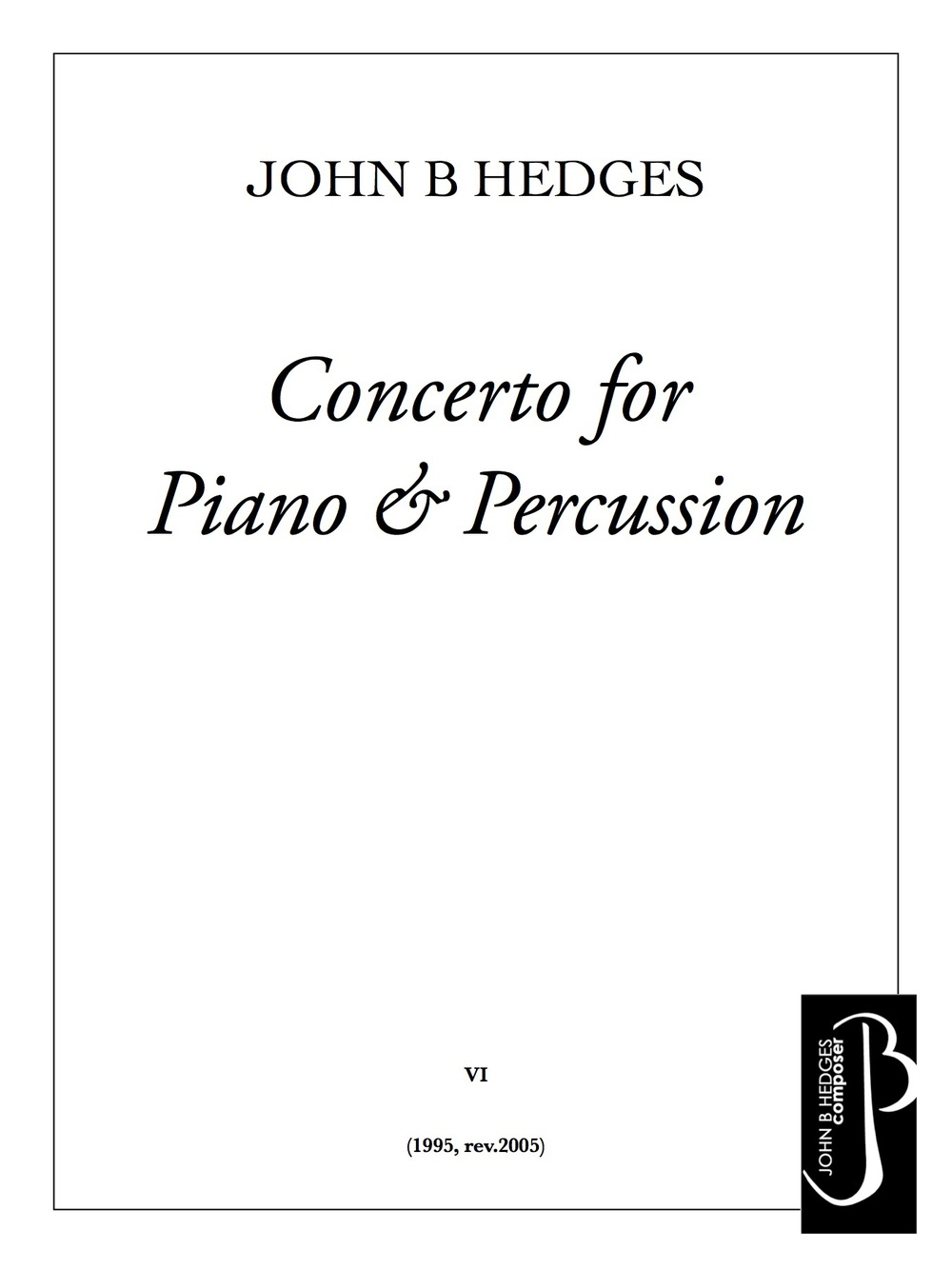 Concerto for Piano & Percussion for solo piano and five percussionists
