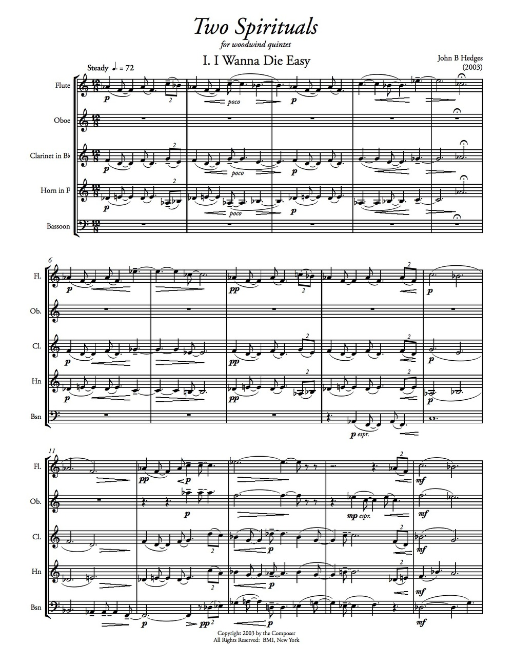 Two Spirituals   for wind quintet