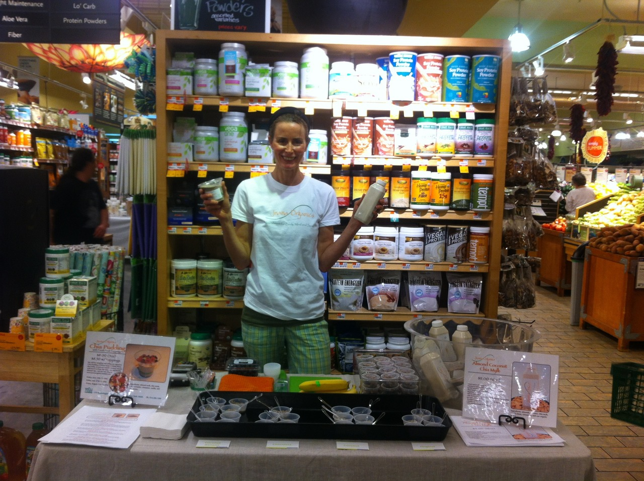 Our founder, Patricia, with her samples at Whole Foods White Plains.