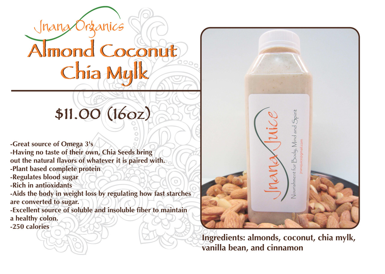 Jnana Organics' Almond Coconut Chia Mylk - Sold out at Whole Foods! Keep checking back here for updates on where and when to purchase our Mylks. For wholesale and delivery orders, please contact JnanaOrganics@gmail.com.