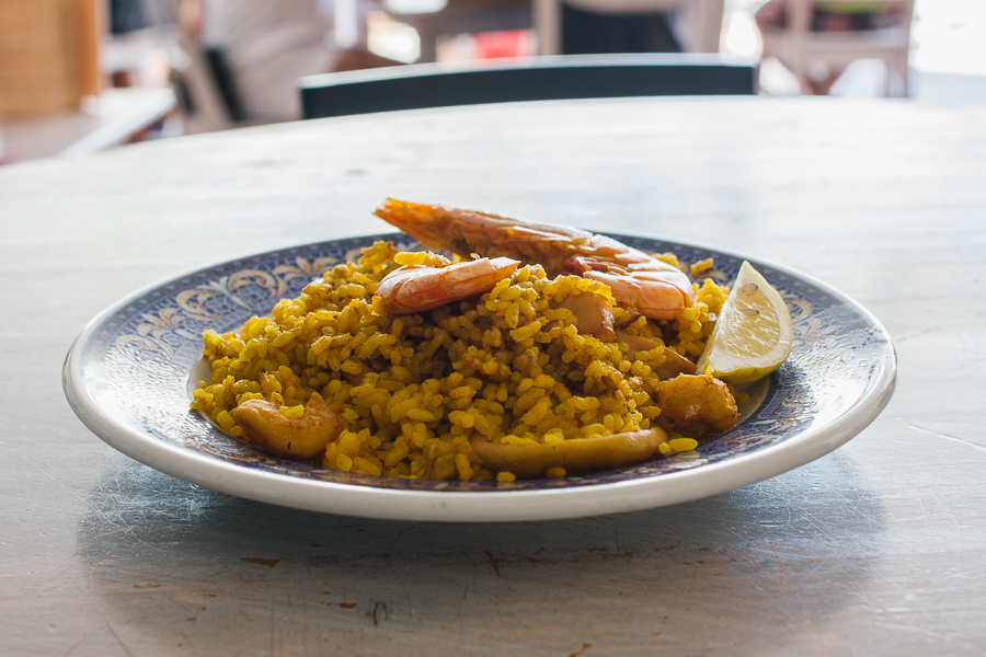 A plate of seafood paella. Usually it is served in a big carbon steel pan for multiple people. We actually make it every Sunday for the hostel guests at 360.