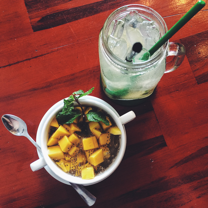 Mango chia salad and some sort of ginger detox drink
