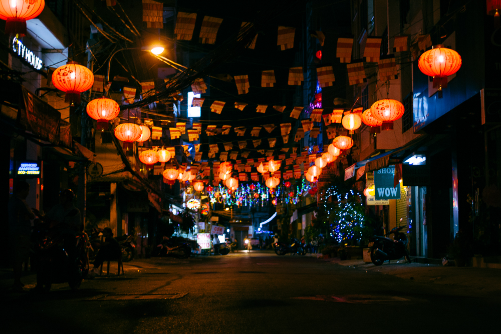 Lanterns hung to celebrate Tết (Vietnamese New Year)