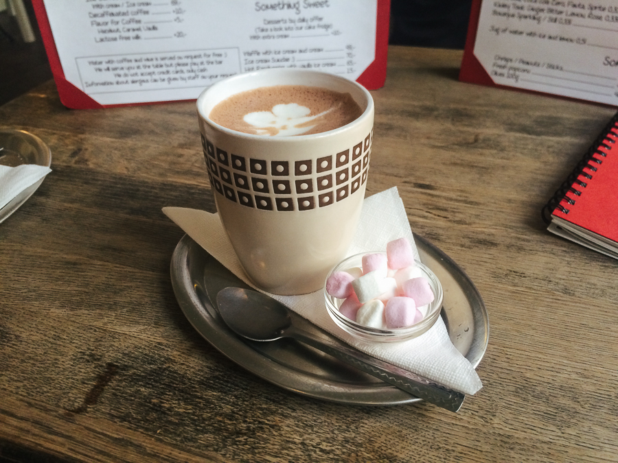 Hot cocoa and marshmallows from the cat cafe (Kockafe)