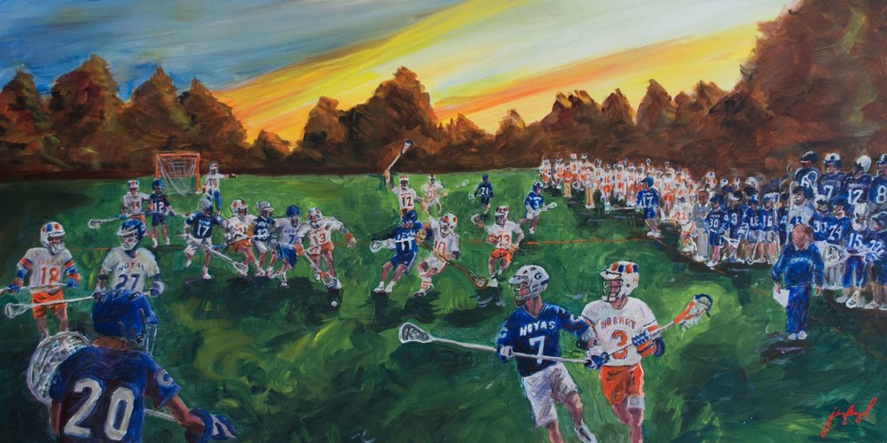 DJU This piece, of Hobart players from Dave Urick's coaching tenure there painted on the field against Georgetown players from his decades there, is an anachronistic fantasy. Depicted are men who perhaps played before the competitor painted next to them ever held a stick. It is a tribute to the man shown on both those sidelines. And behind him, seen and unseen, rows and rows deep, are all of us who played for him. It is available in 3 sizes and custom framed, starting at $96 (also available unframed). To Purchase or find out more, CLICK HERE