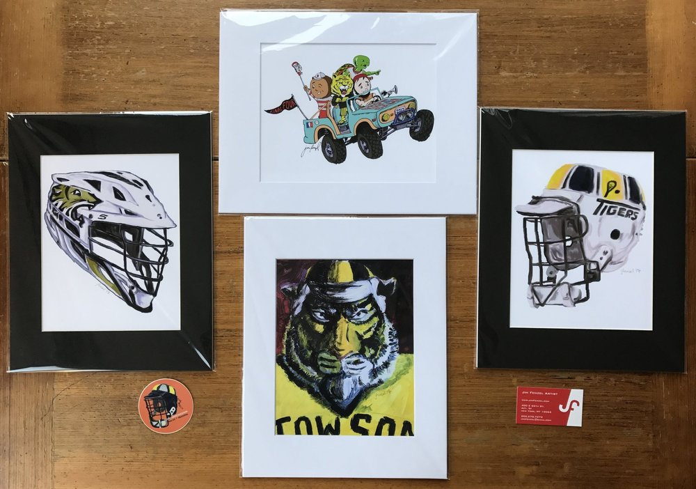 4 Prints: Each in an 11x14 mat (clockwise from TOP): FF Mascots, 1991 Bucket, Tiger Portrait, 2017 Cascade S