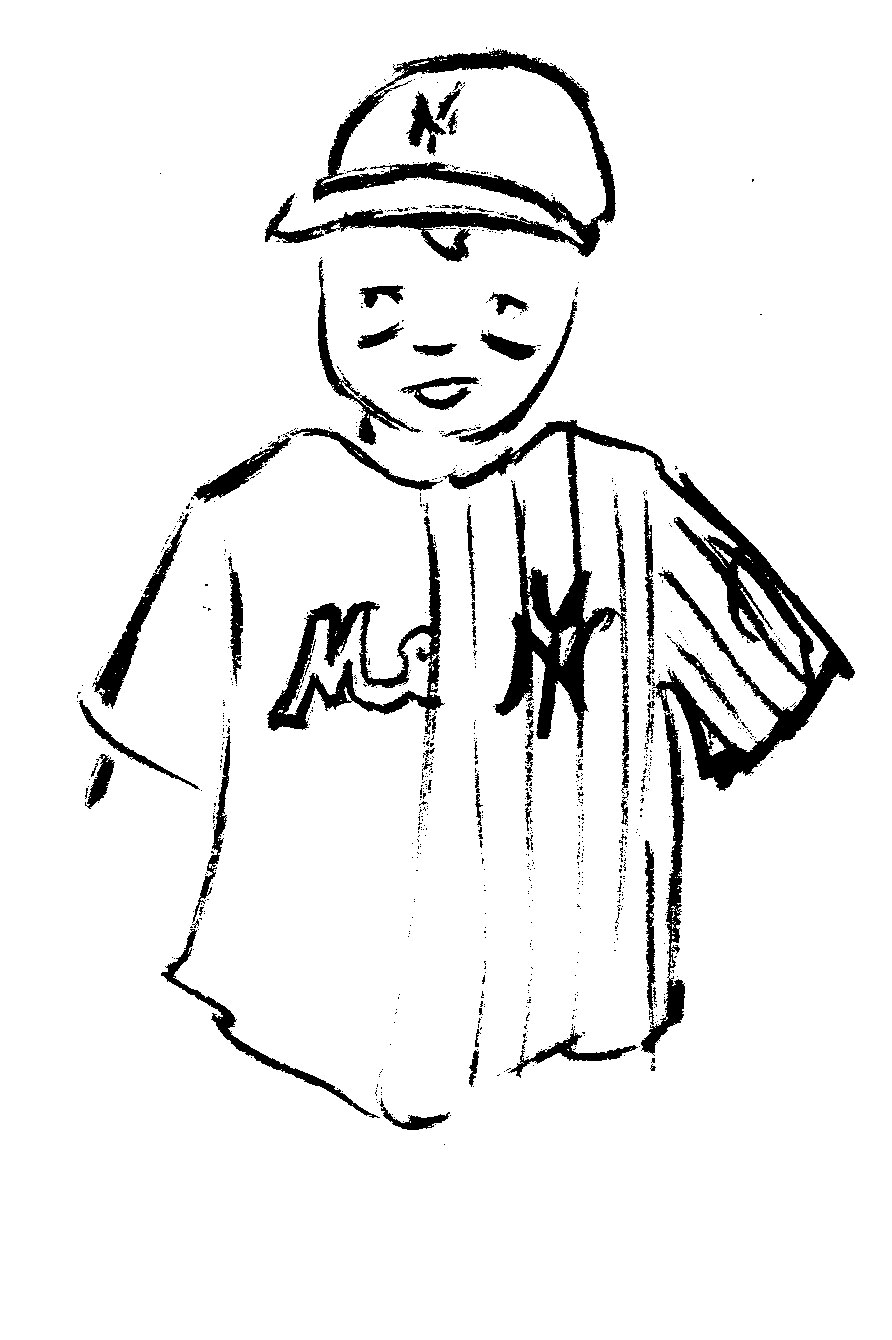 Subway Series - Age 8: Sticking with NYC baseball, this costume was designed by Charlie and dad helped pull it together. He was Yankees and Mets, spilt right down the middle. Royal pinstripes on one side, navy on the other