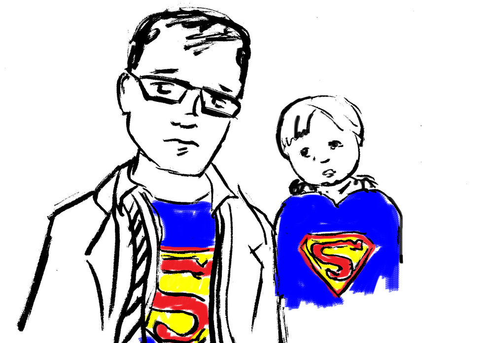 From 2016: Lazy Superman/Clark Kent costume on Dad. Benny (22 months) as the Caped Crusader