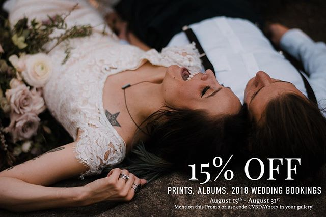 It's my birthday and I want to give back to all of my amazing couples & clients! 15% off of albums, prints, or 2018 wedding bookings (This also includes preordering an album for your upcoming wedding!) 💕 Reach out to me ASAP this is only good until August 31!
