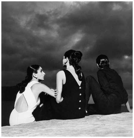 Naty Abascal and twin sister Ana-Maria Abascal with Helio Guerreiro, dresses by Ricano, photo by Avedon in Ibiza, Spain, September, 1964