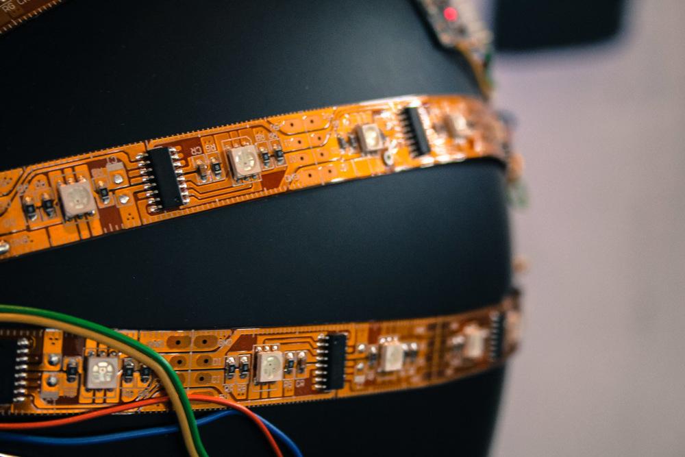 Close up of David Neevel's LED covered helmet.