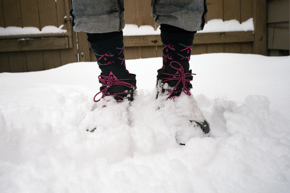 I knew these crazy snow boots would come in handy.