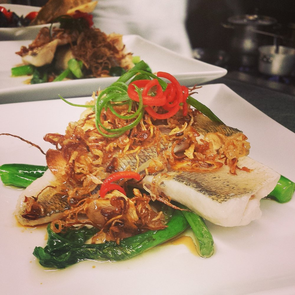 Pickerel   lemongrass oil poached, crispy shallots, ginger, garlic, asian greens