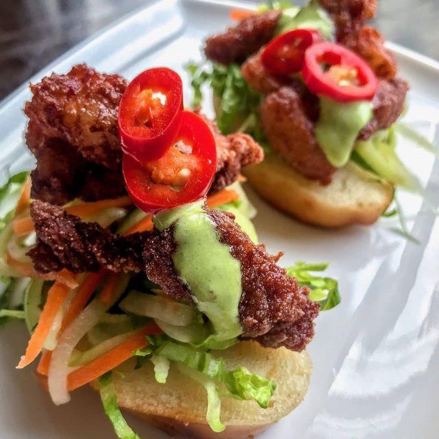 Pork Belly Toast - fried mantou, spicy pickles, Hakka five spice fried pork belly, scallion aioli  #mmmalay #nyonya #fivespice #hakka #porkbelly #mantou #soos #soostoronto #reimagining #malaysian #streetfood #malaysianfood #ossington #torontoeats #torontofood #tastetoronto #ieatto #toreats #torontolife #blogto #ypdine #friday