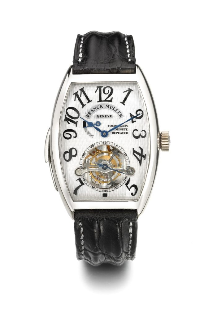 Franck Muller | A Fine White Gold Tonneau-Form Minute Repeating Tourbillon Wristwatch Ref 6850 Rmt No 06 Imperial Tourbillon Minute Repeater Circa, 1998 | Estimate $25,000 — $35,000 USD