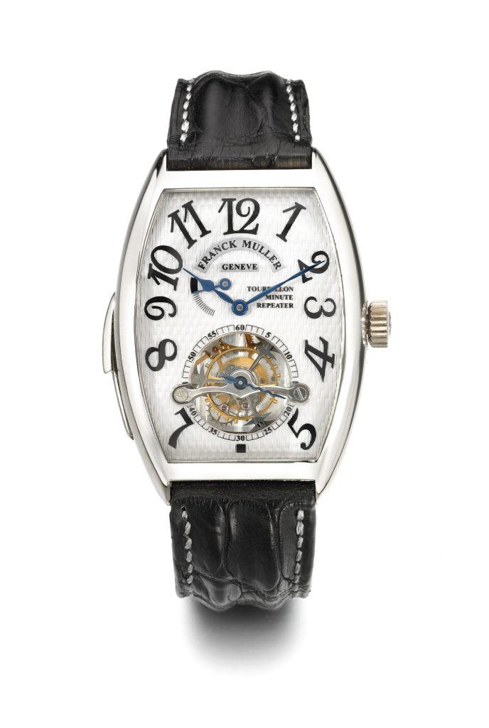 Franck Muller |A Fine White Gold Tonneau-Form Minute Repeating Tourbillon Wristwatch Ref 6850 Rmt No 06 Imperial Tourbillon Minute Repeater Circa, 1998 |Estimate $25,000 — $35,000 USD