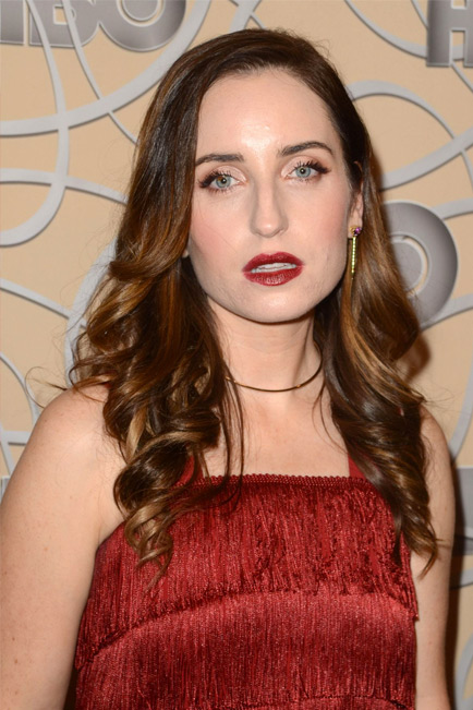 Zoe Lister-Jones wears Amethyst Shirley spears to the HBO Golden Globes party