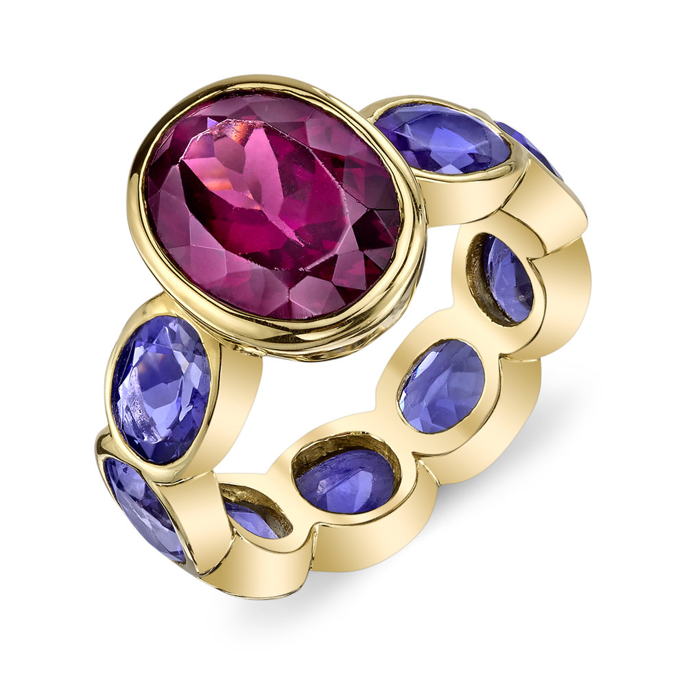 One-of-a-Kind Rhodolite & Sapphire Bezel Set Ring
