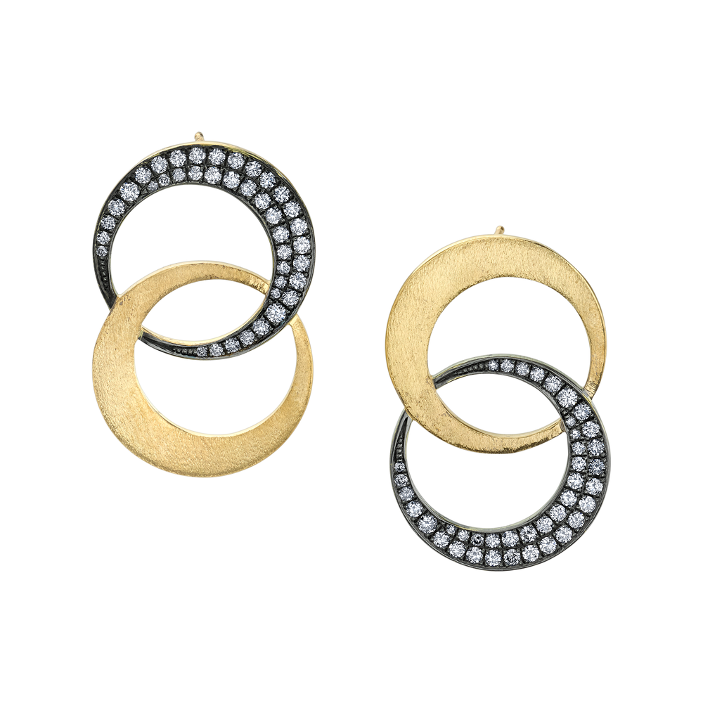 Double Crescent Diamond Earrings