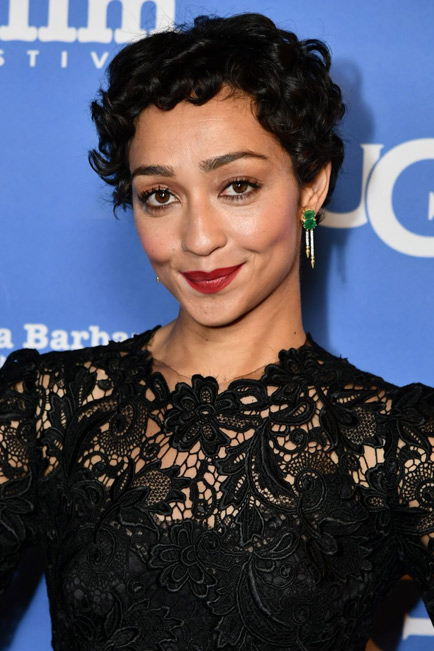 Ruth Negga wearing the one-of-a-kind Gemfields Zambian Emerald Shirley Double Drops at the Santa Barbara Film Festival