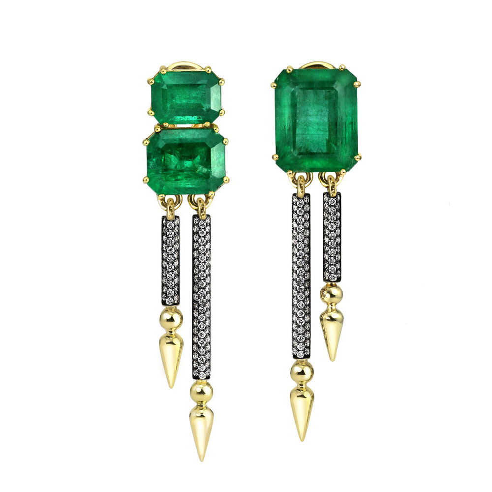 One-of-a-Kind Gemfields Zambian Emerald Shirley Double Drops
