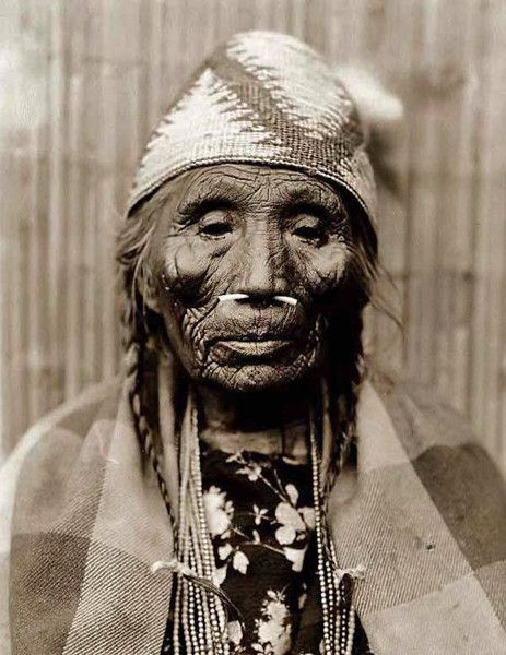 Grandma Eads Design Reference. Here for your browsing pleasure is a grand photo of a very old Indian Woman. It was made in 1910 by Edward S. Curtis in Washington State. The photo documents a Head-and-shoulders portrait of of the Indian woman with bone through her nose. We have compiled this collection of photos mainly to serve as a vital educational resource. Contact curator@old-picture.com. Image ID# 2F01E876