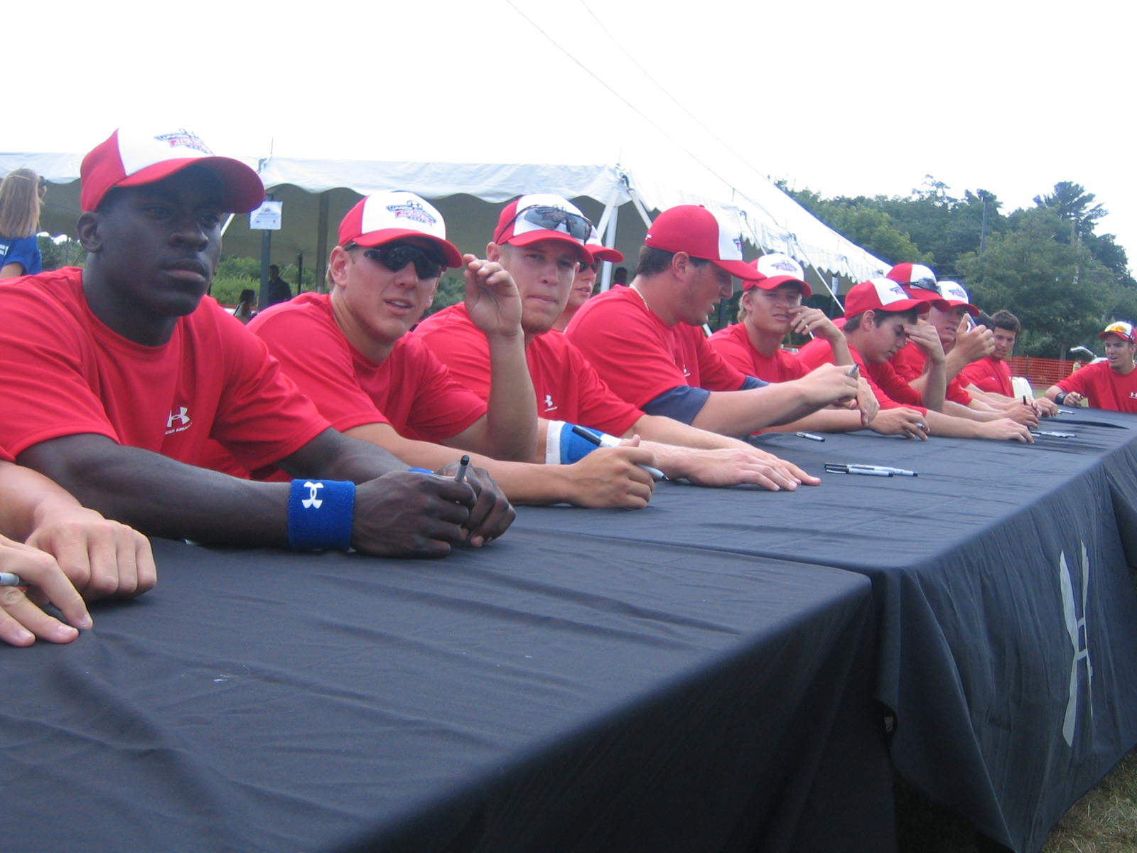 Last year's all-stars line-up to sign autographs.