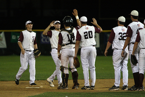 Falmouth celebrating after winning Game 2 on August 10th. Photo courtesy of CapeHomepage.com.