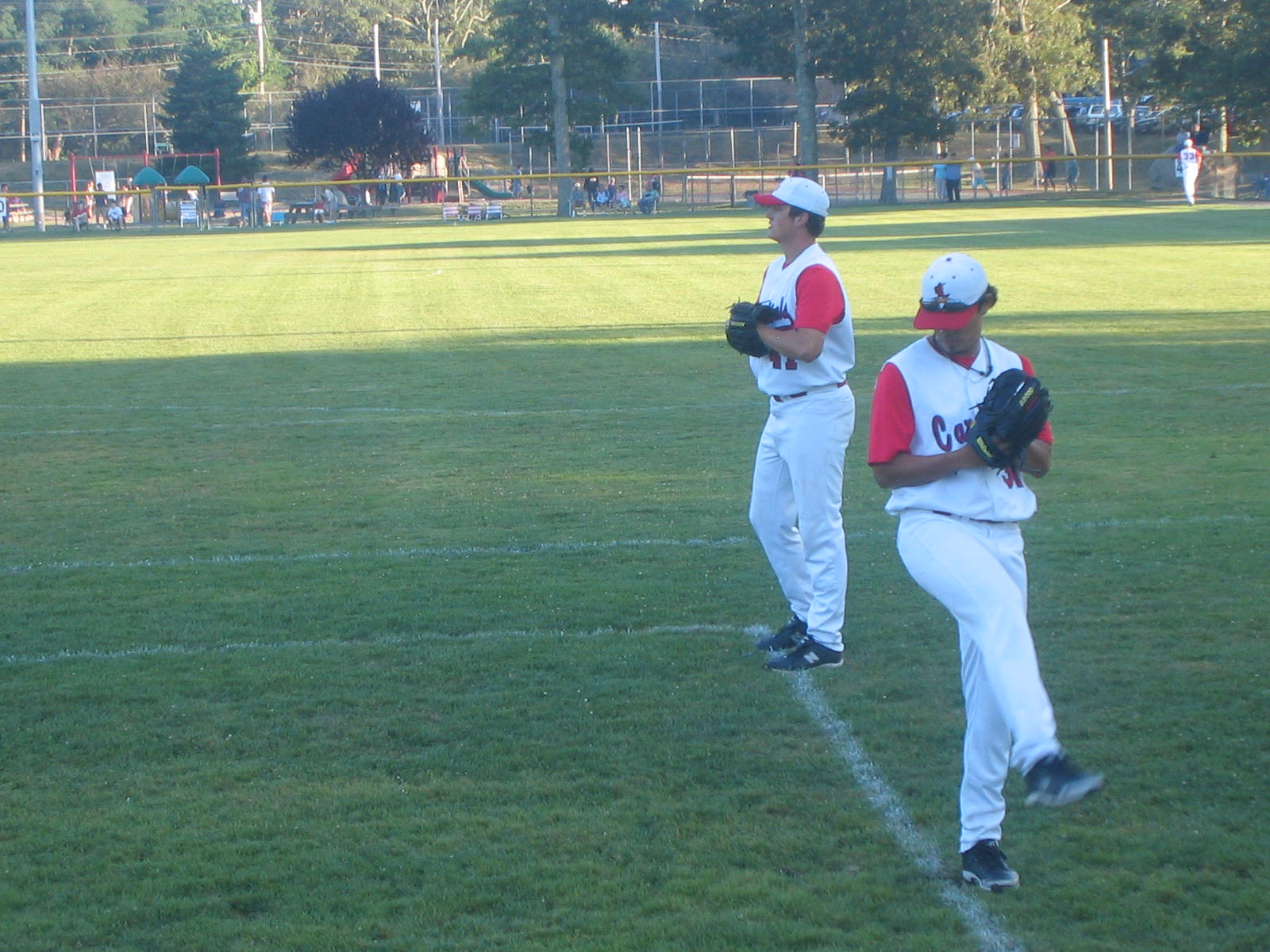 Orleans pitchers prepare for tonights East playoff against Harwich.