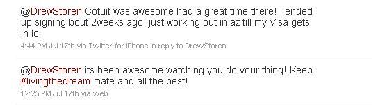 Josh Spence's tweets to Drew Storen