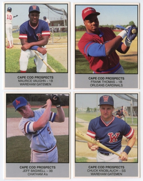 Four of the most recognizable names from the 1988 Cape Cod Prospects baseball card set. Photo by smalltraditions.com.