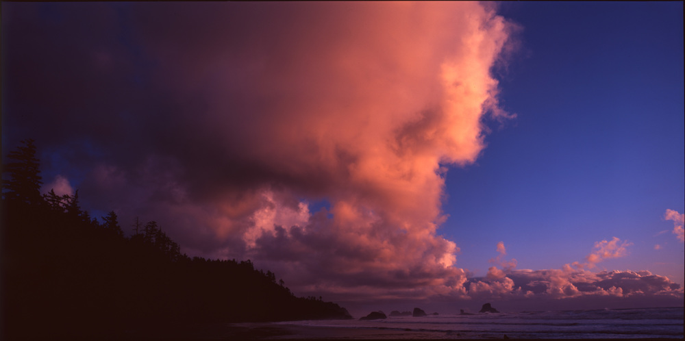 Clouds over Indian Beach and distant stacks, Oregon, November 2015 - Fujifilm Velvia 50 - 6x12
