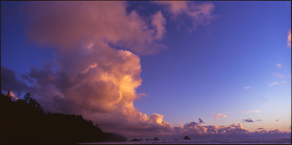 Clouds over Indian Beach and distant stacks, Oregon, November 2015 - Fujifilm Provia 400x - 6x12