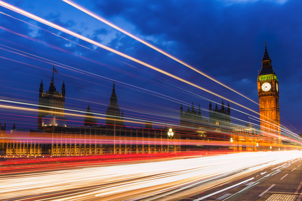 Twilight and traffic in Westminster - September 2015