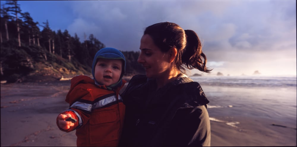 Henry and Valerie - Indian Beach, Ecola State Park, Oregon, November 2015 - Fujifilm Provia 400x 120