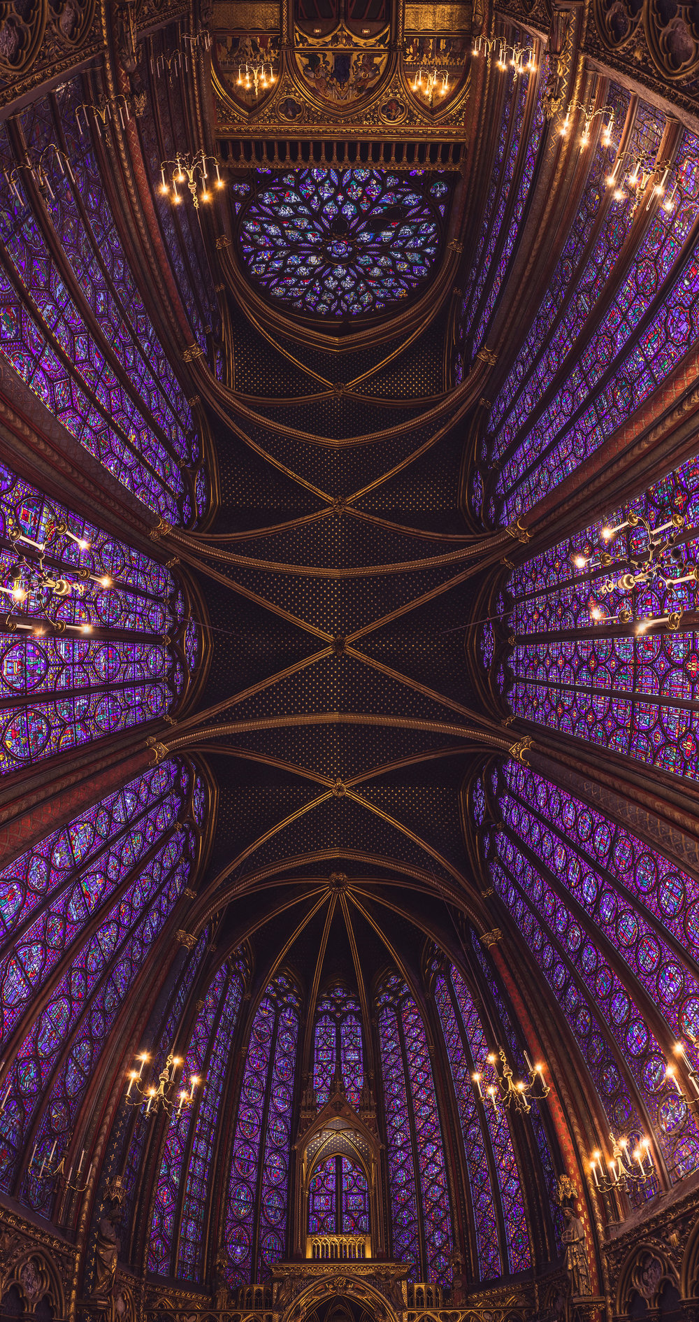 Starry Starry Night - the ceiling of Sainte-Chapelle in its full glory, January 2018