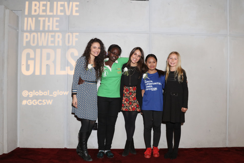 From left to right: HerStory Campaign Director Jennifer Estrada, Morecai, Juliana Vélez, Lilibeth, and Maddie of Global G.L.O.W.