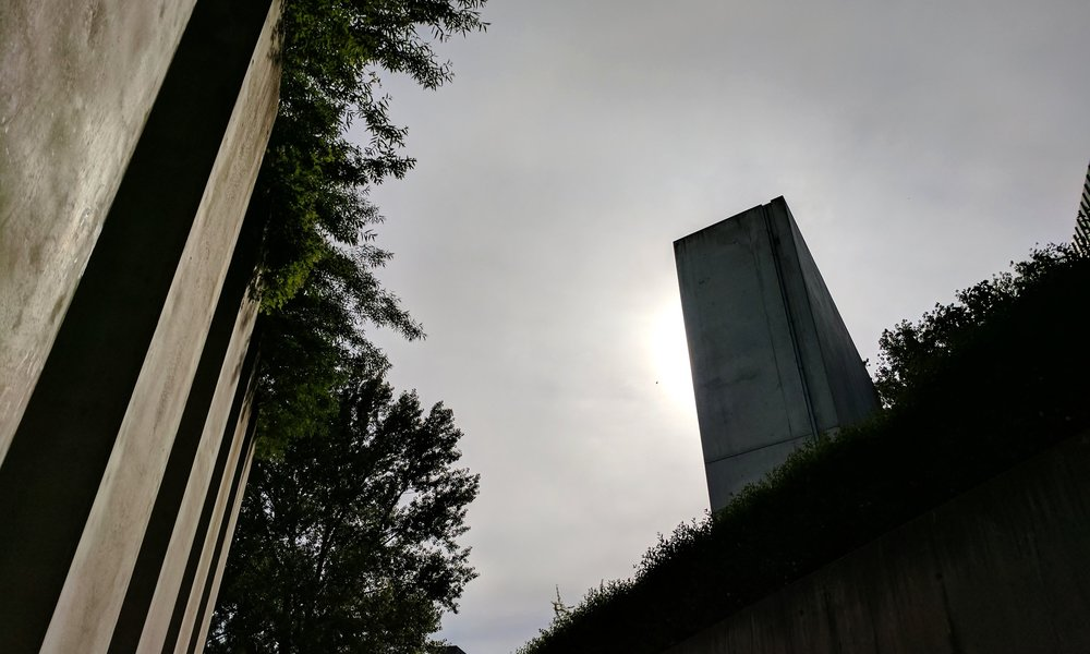 "View of the  Voided Void  (a.k.a. the ""Holocaust Tower"") from within the  Garden of Exile  at the Jewish Museum Berlin."