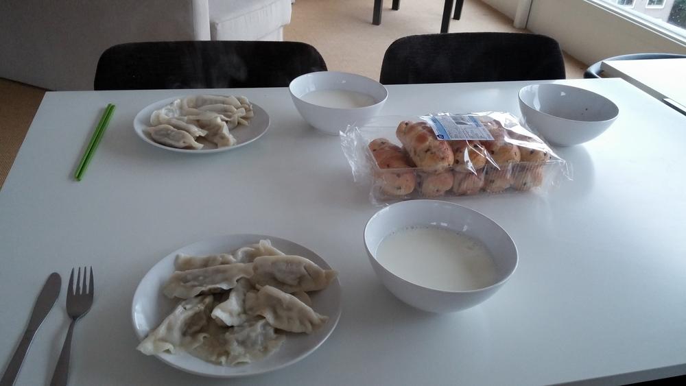 Left-over dumplings for breakfast.
