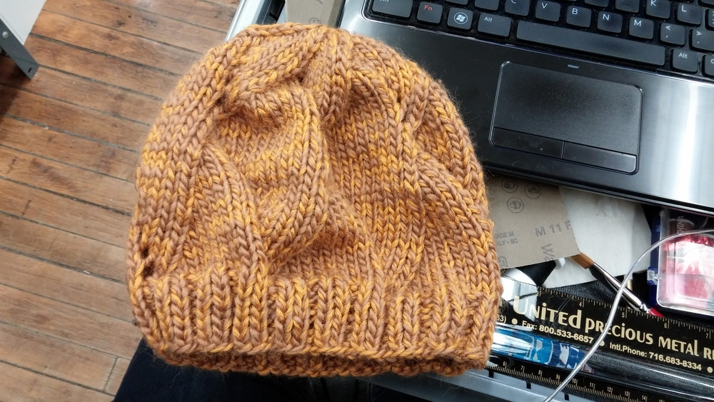 Knitting some hats for my degree project