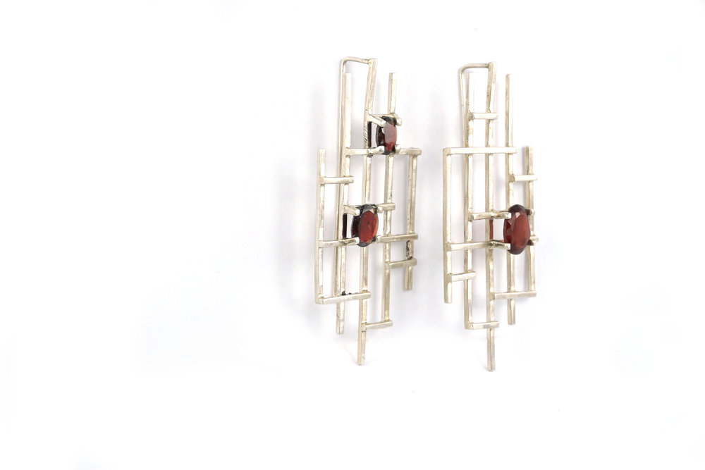 Garnet Grid Earrings
