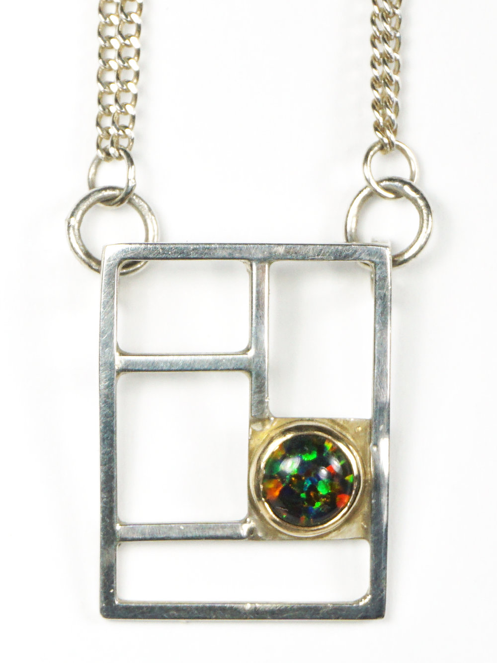 Grid Opal Necklace   Sterling Silver, 14k Yellow Gold, Opal. 2016