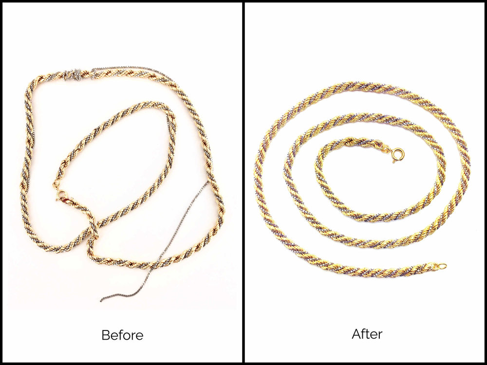 Repaired broken 14k yellow and white gold chain necklace.