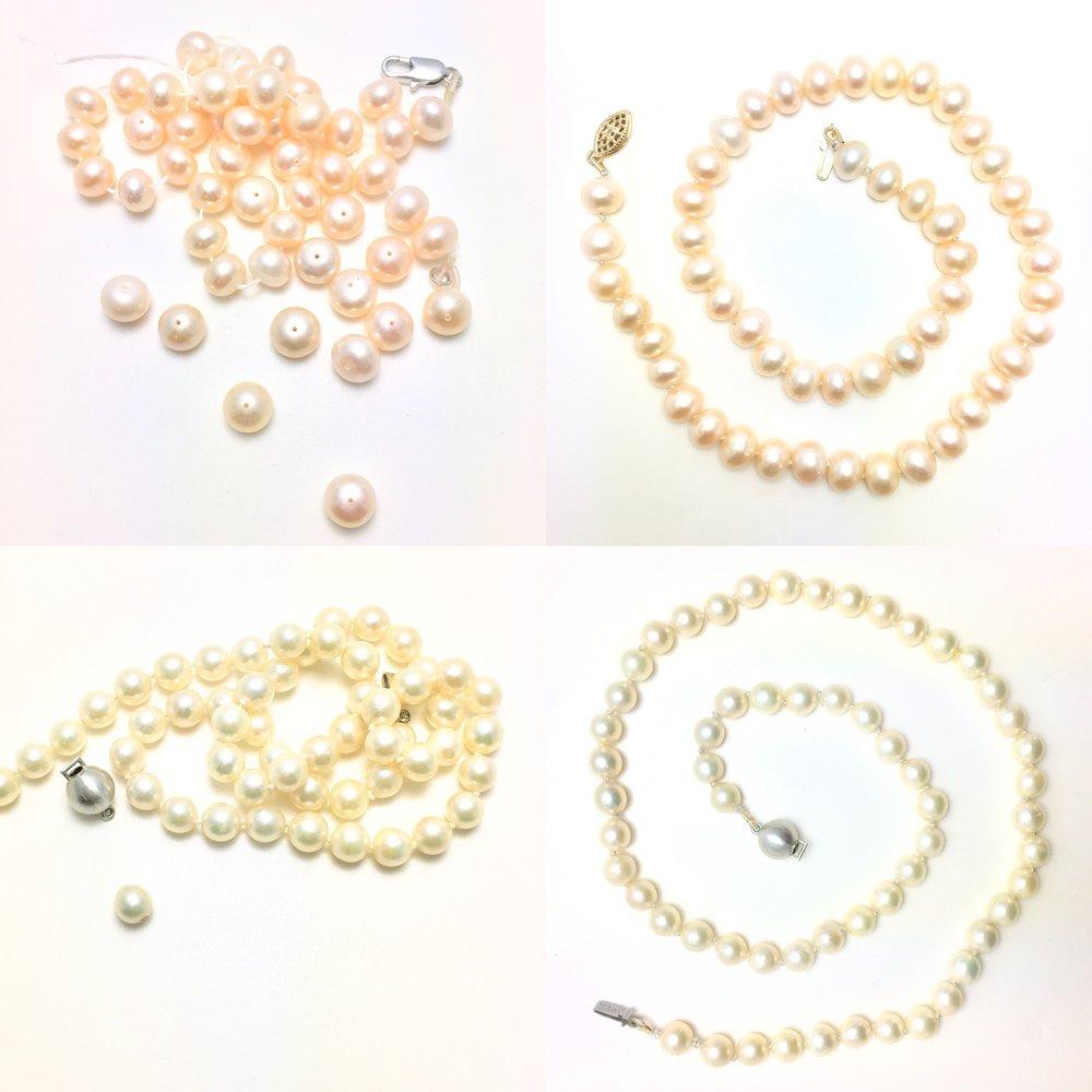 Restrung pearl necklaces