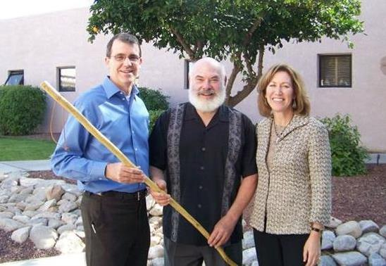 Dr. Rector is pictured here withDr. Andrew Weil,recognized author, leader in the holistic health movement, and founder/director of theFellowship in Integrative Medicine, along with Dr. Victoria Maizes, the Executive Director of the fellowship program. Upon completion of the fellowship, each graduate is presented with the traditional walking stick, which represents each individual's journey to health and wellness.