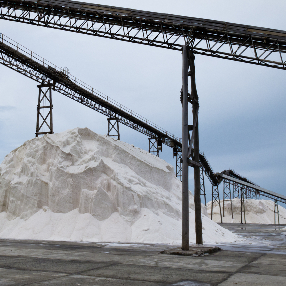 Bulk salt pile, brought up from underground mines.