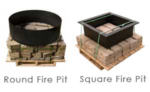 Fire pit package set up. Includes palletized, pre-counted blocks and fire ring. Ready for pick up.