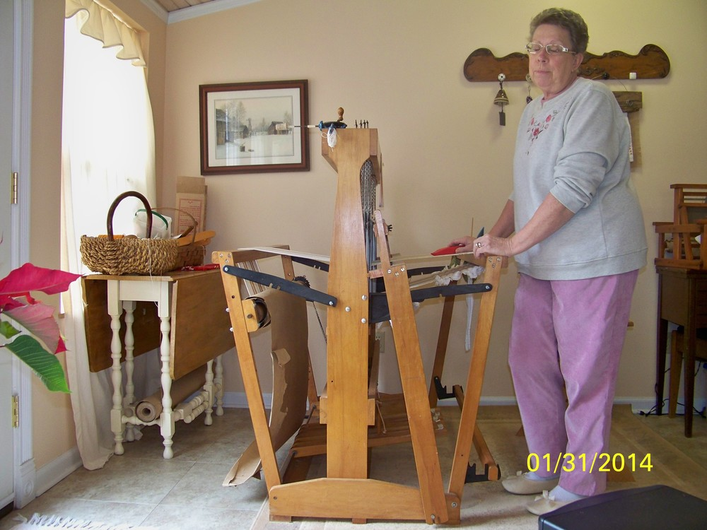 Peggy Casteel with her loom.